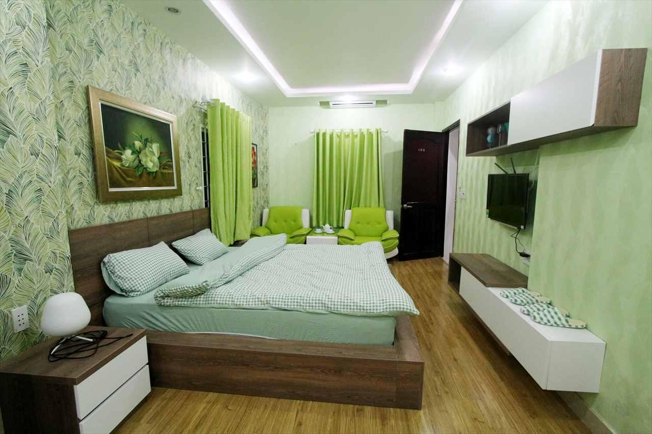 グリーンを基調とした室内